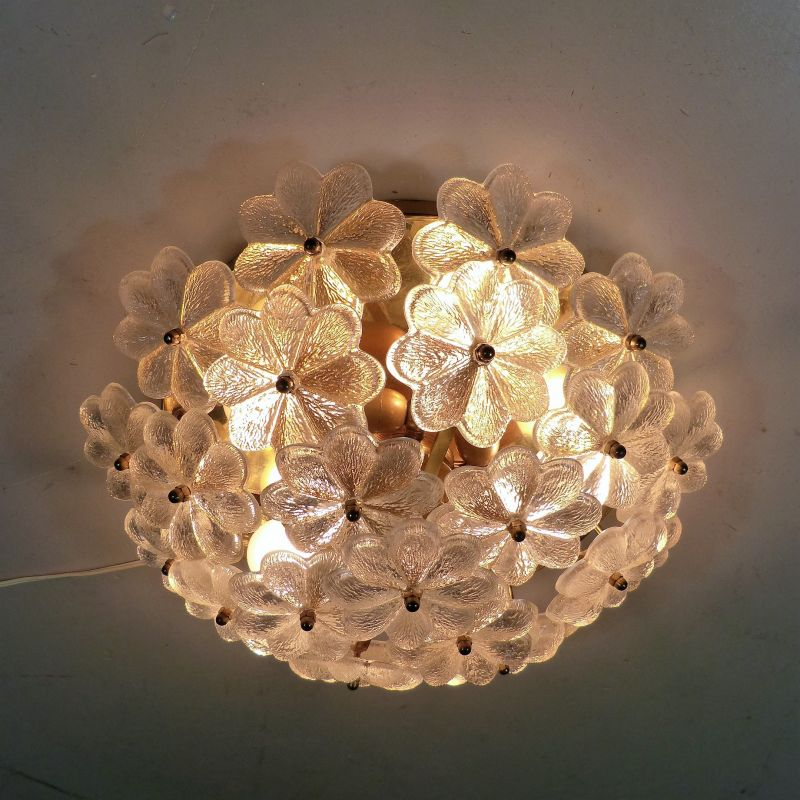 Vintage glass and brass flower ceiling lamp by Palwa, Germany 1960s