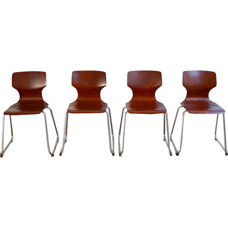 Set of 4 vintage Flötotto chairs for Pagholz