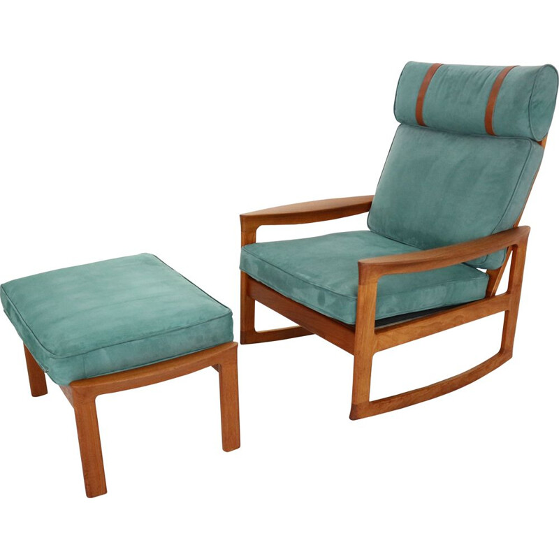 Rocking chair & footstool in blue velvet by Ole Wanscher