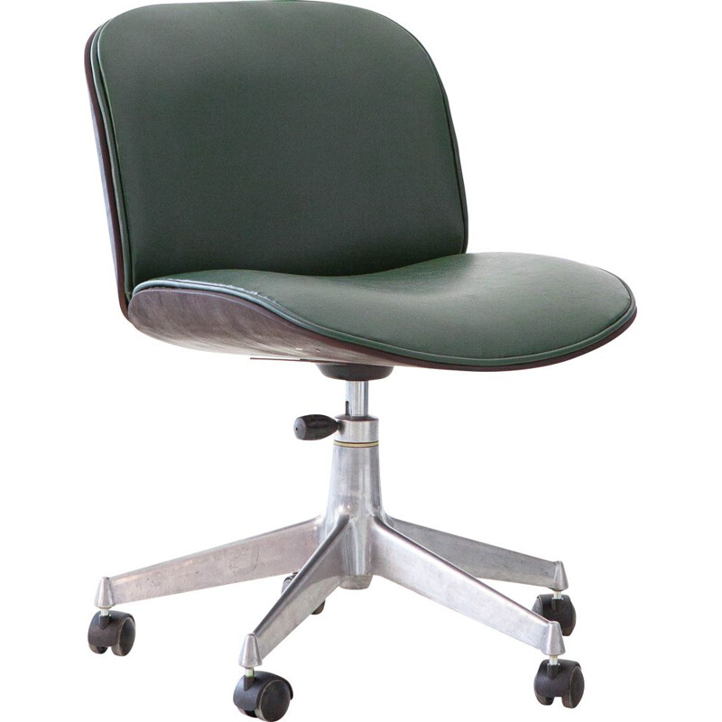 Office chair in green skai by Ico Parisi for MIM Roma
