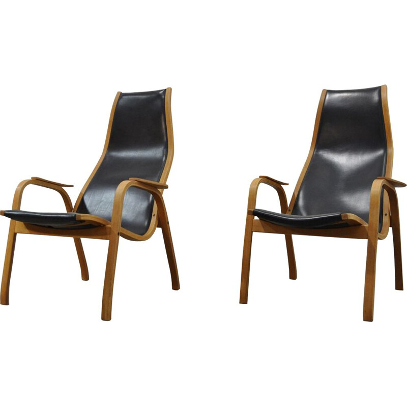 Vintage pair of Kurva Lamino Lounge Chairs By Yngve Ekström For Swedese, 1960s