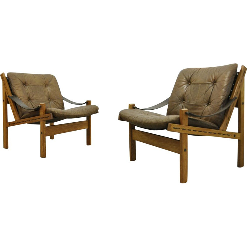 Vintage Hunter Safari Easy Chairs By Torbjørn Afdal For Bruksbo, Norway 1960s