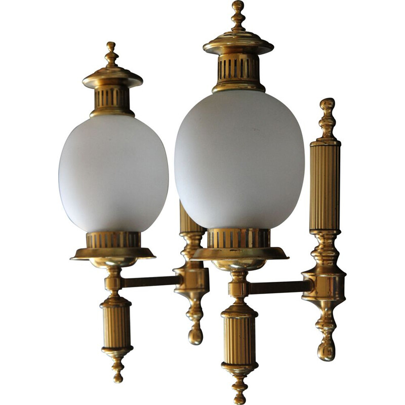 Pair of vintage wall lamps brass and frosted glass, France 1950x