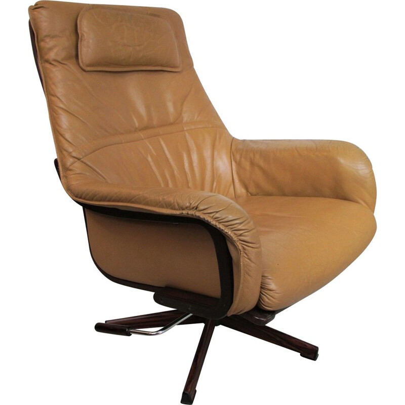 Vintage swivel Armchair in teak, Denmark, 1970s