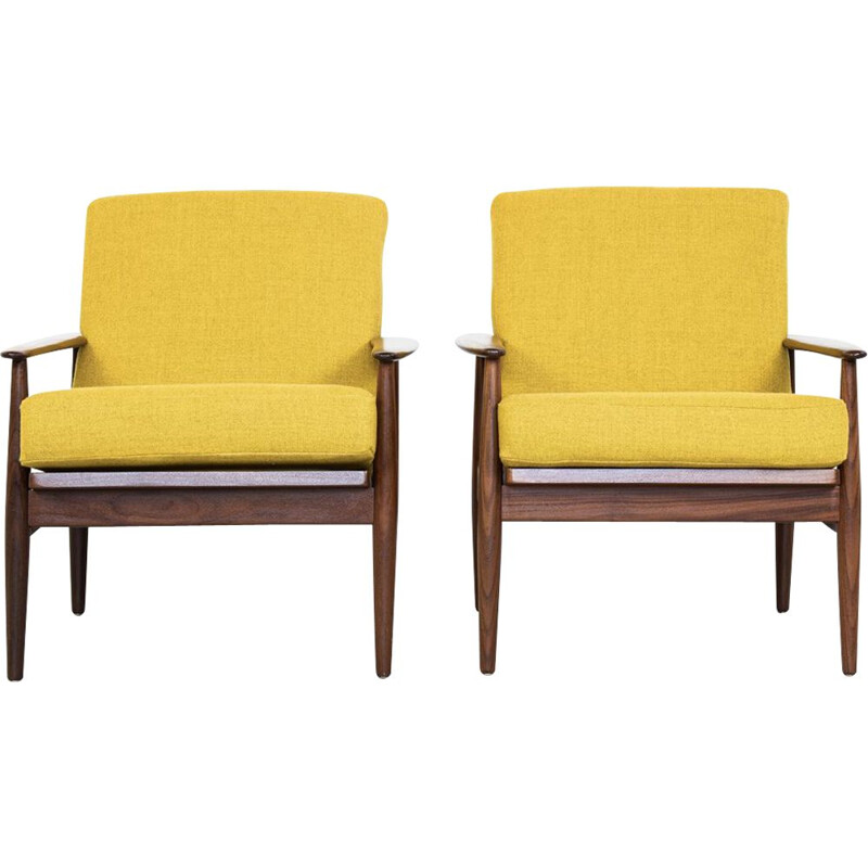 Vintage Danish pair of armchairs in teak and yellow fabric, 1960s