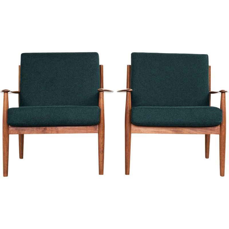 Pair of 2 vintage armchairs in teak by Grete Jalk for France & Son, 1960s
