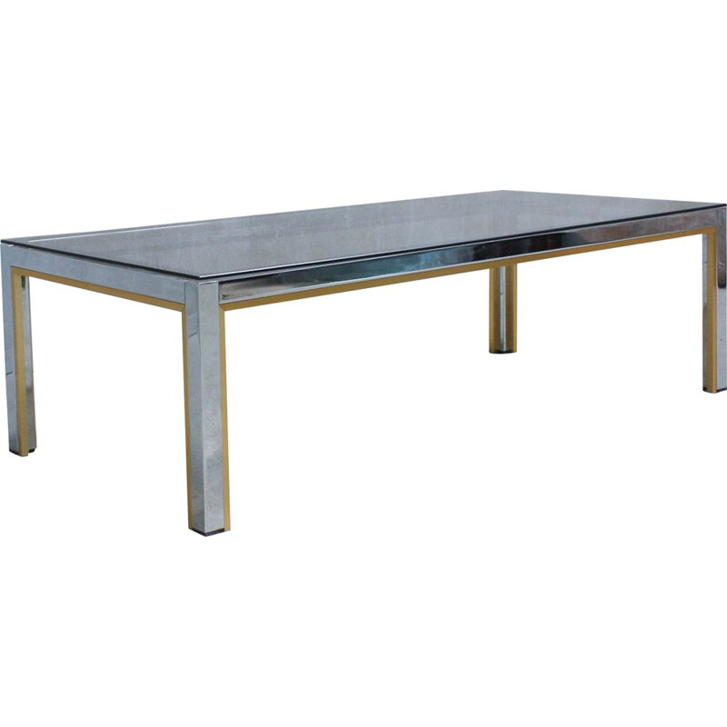 Italian chrome & glass vintage coffee table by Renato Zevi, 1970s