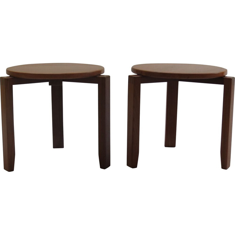 Pair of 2 vintage stools in afrormosia and teak, 1960s