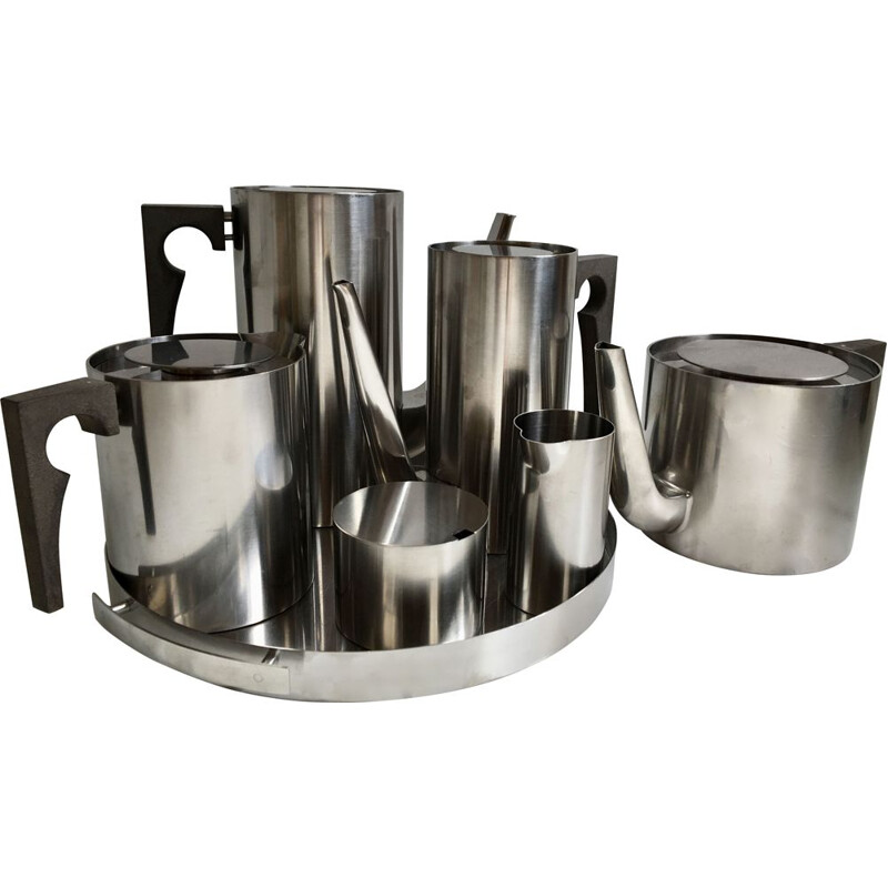 Stainless steel vintage tea and coffee set by Arne Jacobsen for Stelton, 1960s