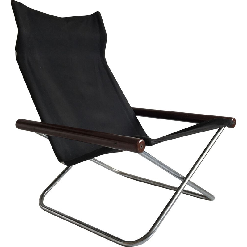 Folding black canvas vintage armchair by Takeshi Nii, Japan, 1958