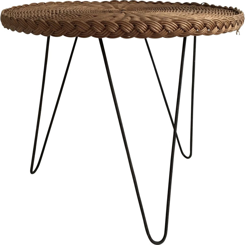 French vintage circular side table in woven rattan, 1950