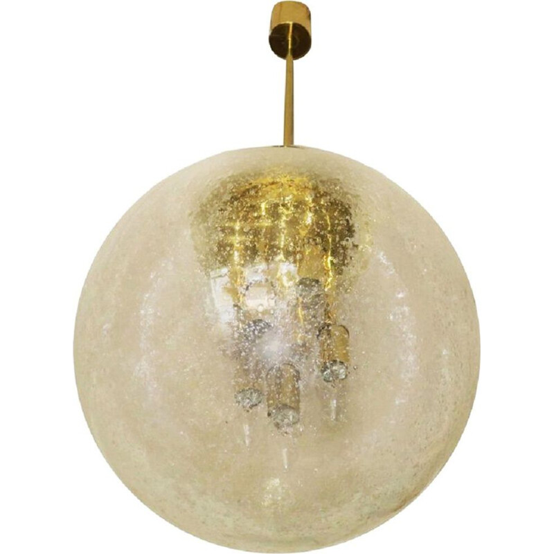 Large vintage pendant light in glass and brass globe by Doria Leuchten, 1960s