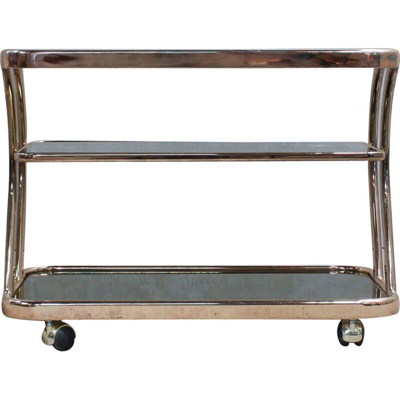 Vintage metal frame and glass trolley, Italy, 1970s