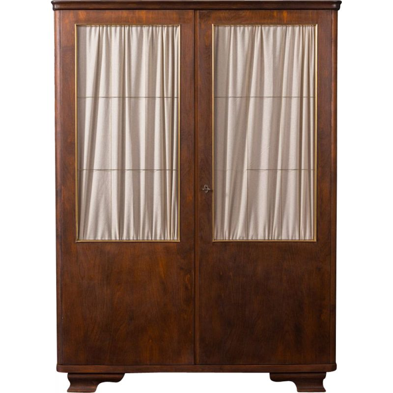 Vintage wooden wardrobe in glass