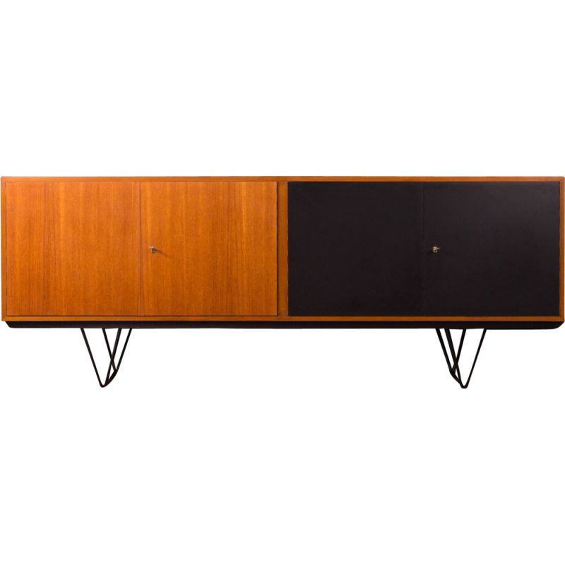 Vintage long sideboard in walnut and formica