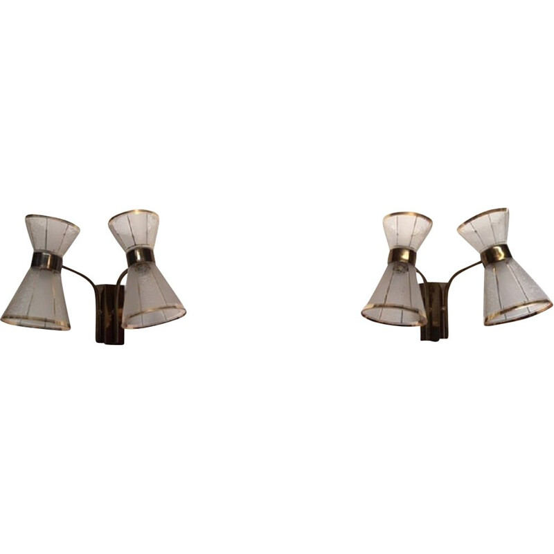 Pair of vintage Diabolo wall lamps in brass and glass