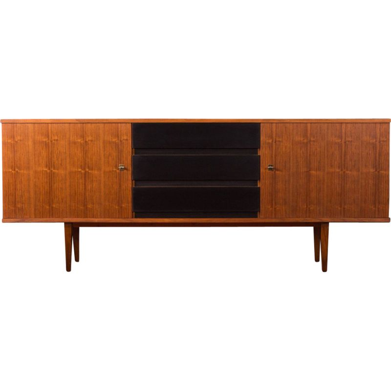 Vintage sideboard in walnut and black formica