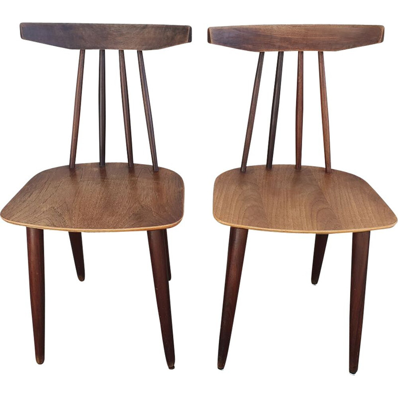 Pair of teak chairs by Poul Volther for Frem Rojle