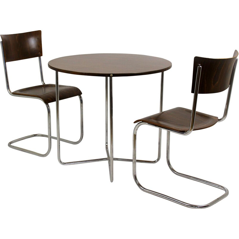 Tubular steel dining set by Mart Stam for Mücke Melder
