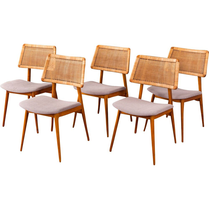 Set of 5 grey chairs in cherrywood by Habeo