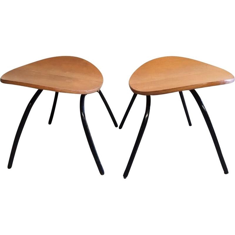 Pair of vintage Memphis wooden and metal stools