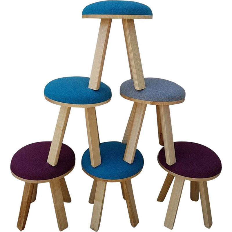 """Vintage set of 8 """"Buzzy Milk"""" stools by Alain Gilles"""