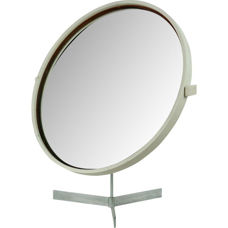 Vintage white circular table mirror by Uno and Östen Kristiansson for Luxus Sweden