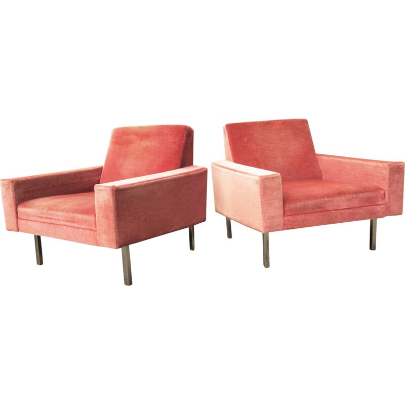 Vintage pair of salmon pink lounge chairs, 1950s