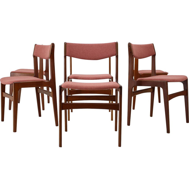 Vintage set of 6 teak dining chairs, Denmark,1960s