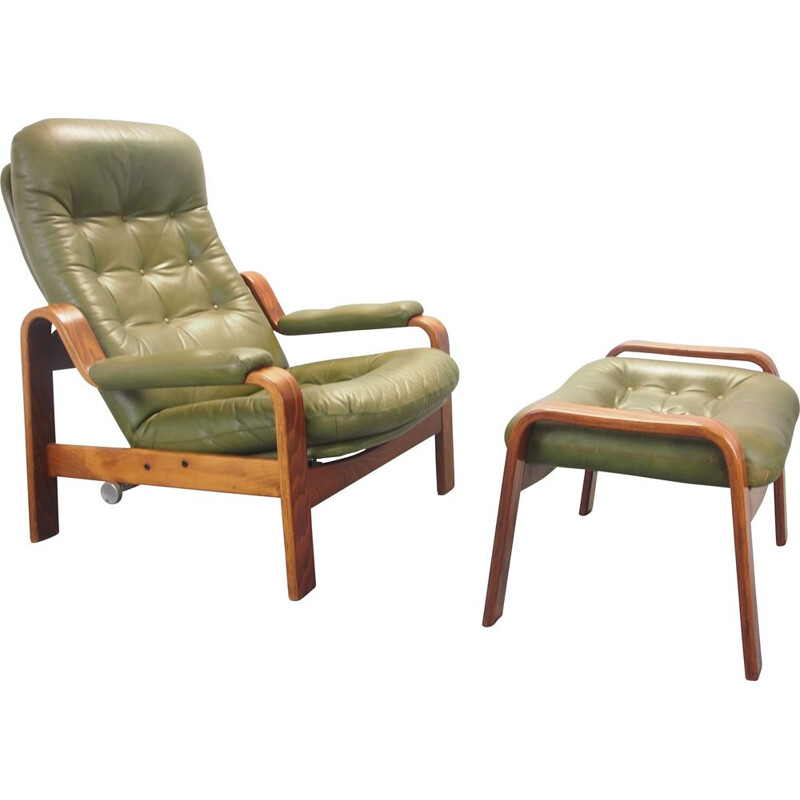 Vintage lounge chair with green leather and ottoman by G-Mobel, 1970s