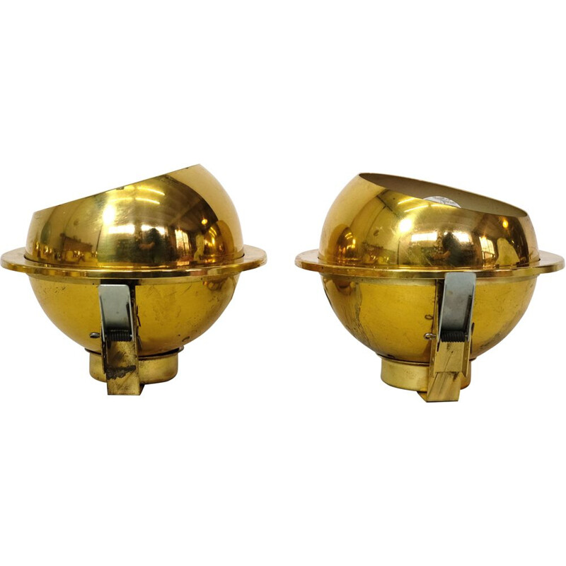 Pair of vintage gold recessed spots