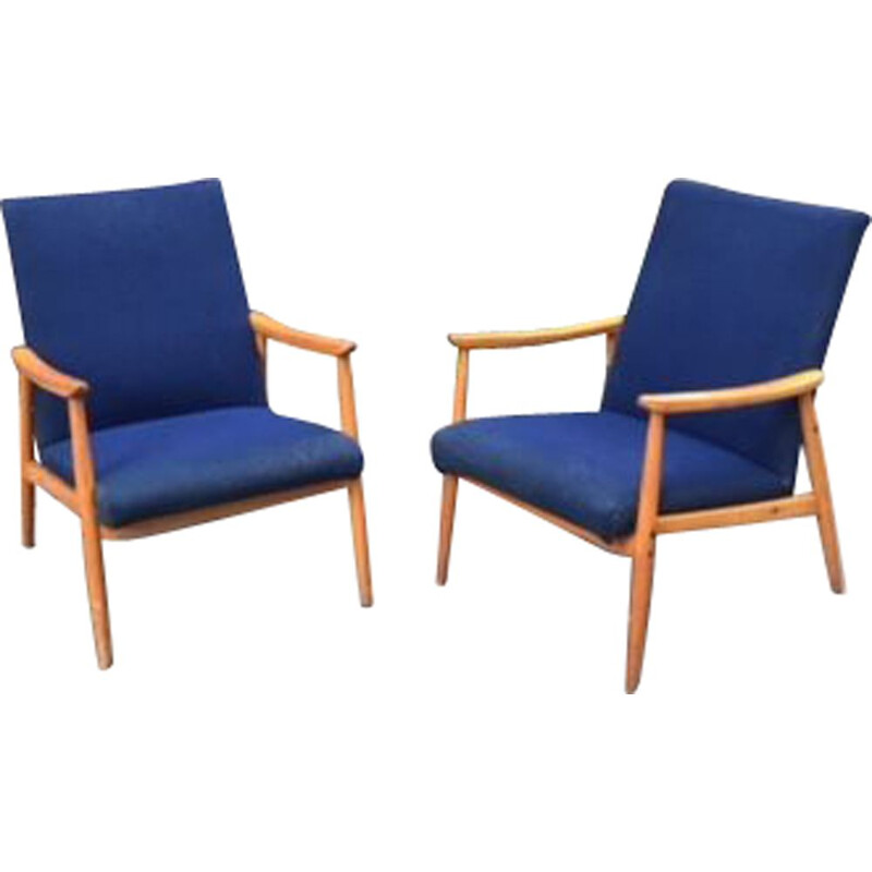 Pair of 2 scandinavian vintage armchairs, 1960s