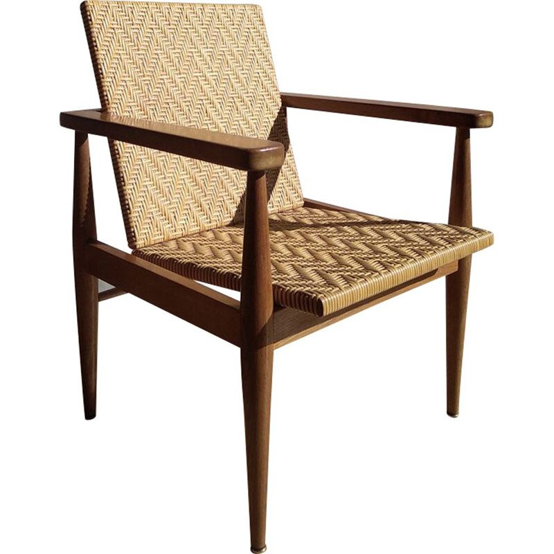 Vintage rattan and oak chair, France, 1950-60s