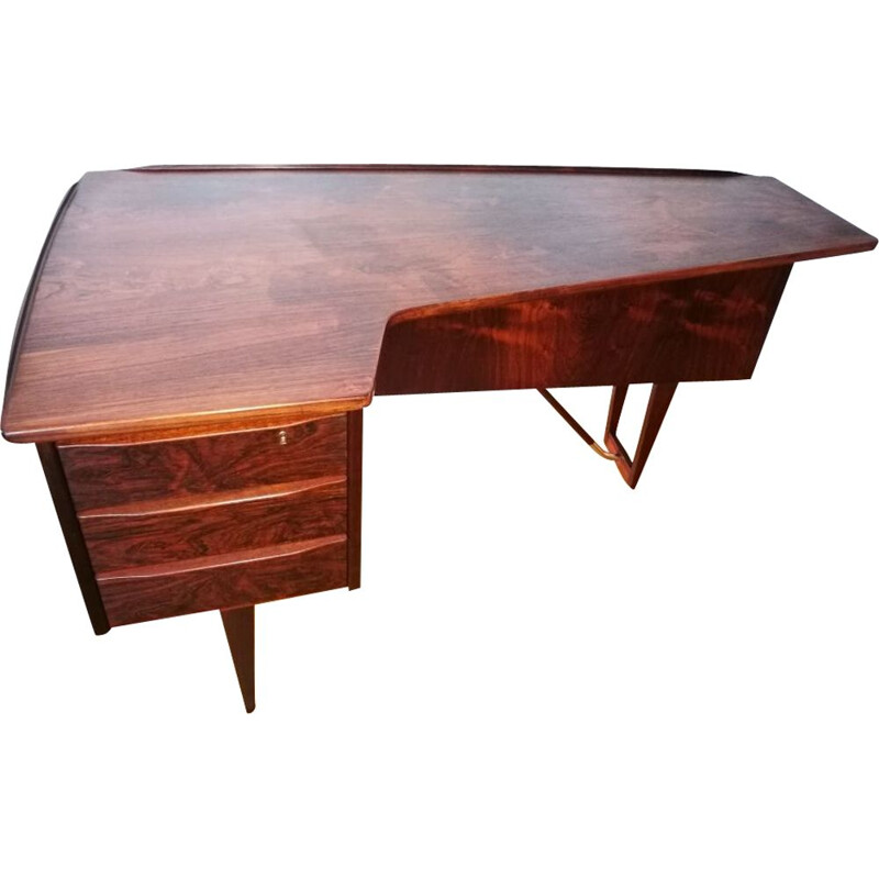 Vintage rosewood desk by Peter Lovig Nielsen for Hedensted Mobelfabrik