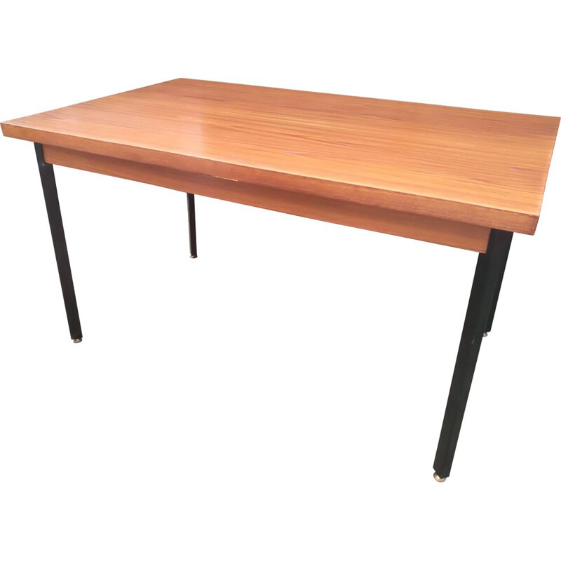 Vintage dining table with extensions, teak and metal, 1960