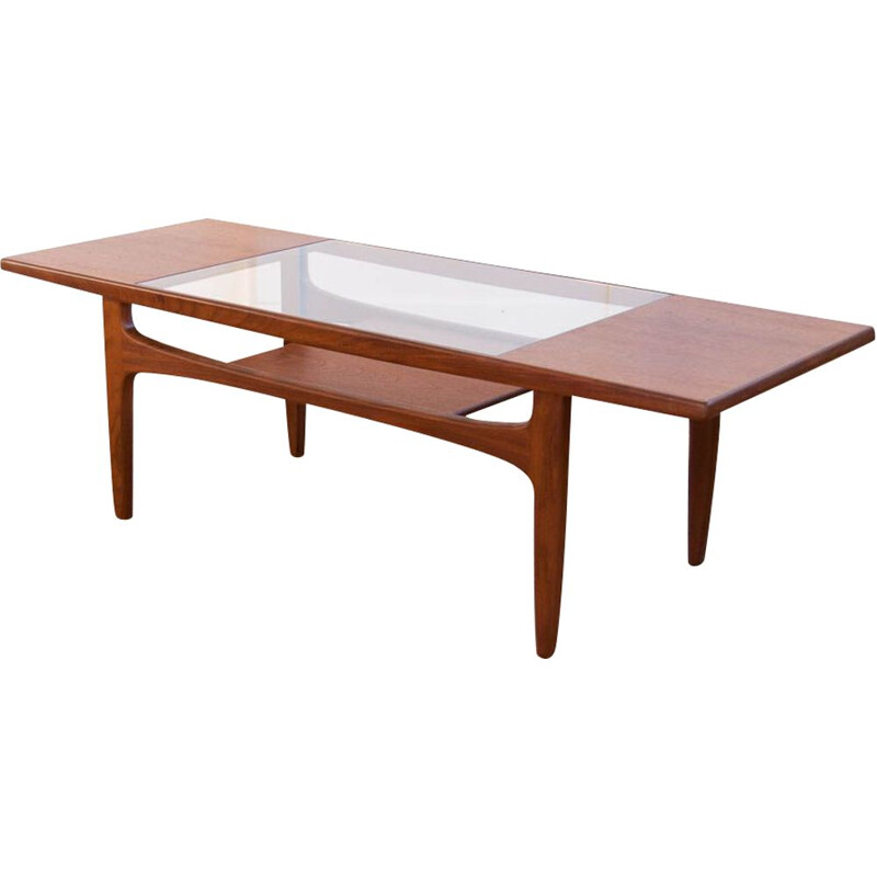 Vintage coffee table by G planin teak and glass, 1960