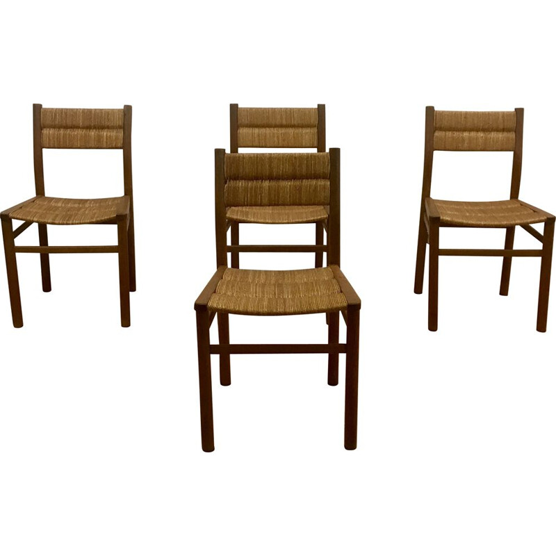 Set of 4 vintage chairs series Week-End by Pierre Gautier-Delaye, France 1950s