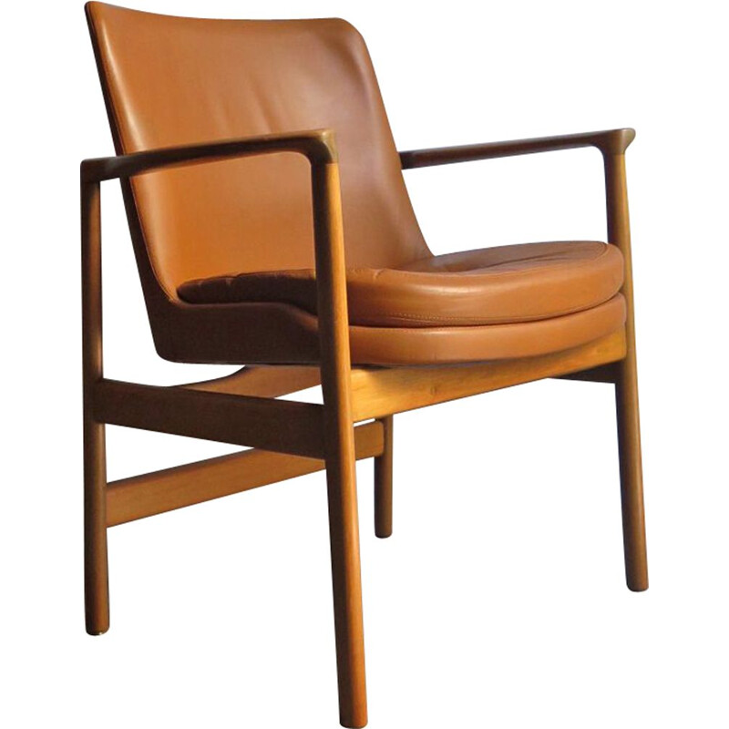 Vintage armchair in wood and leather, 1950s