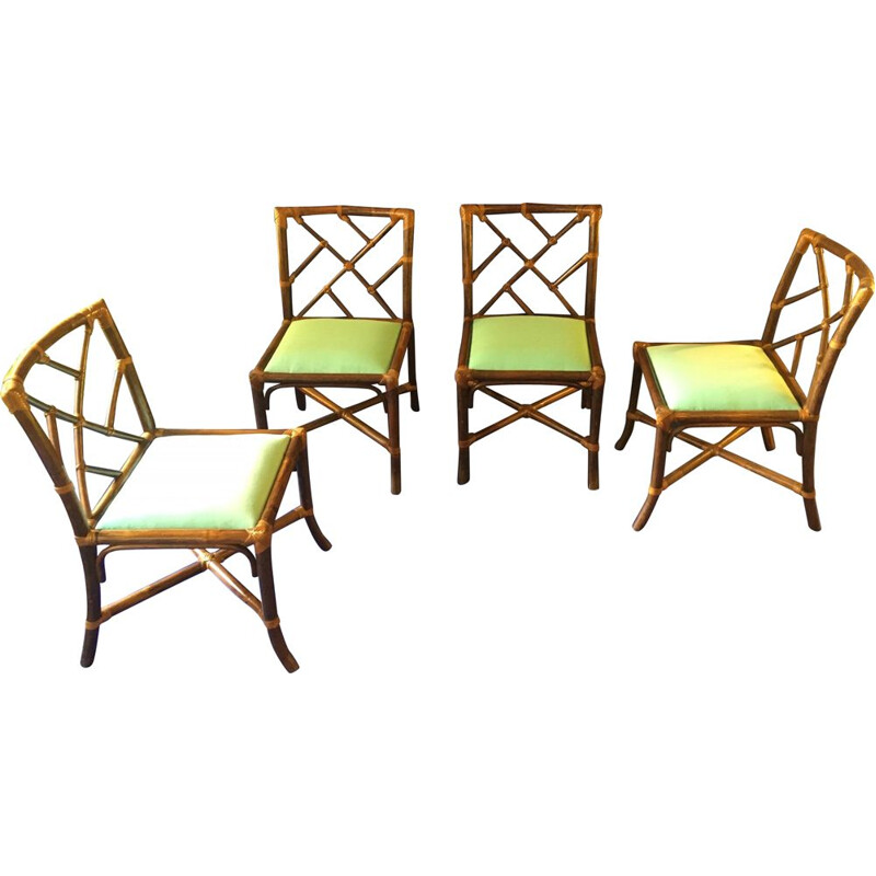 Vintage dining set in bamboo and green velvet