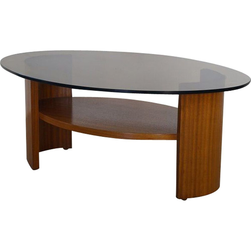 Vintage teak and glass coffee table