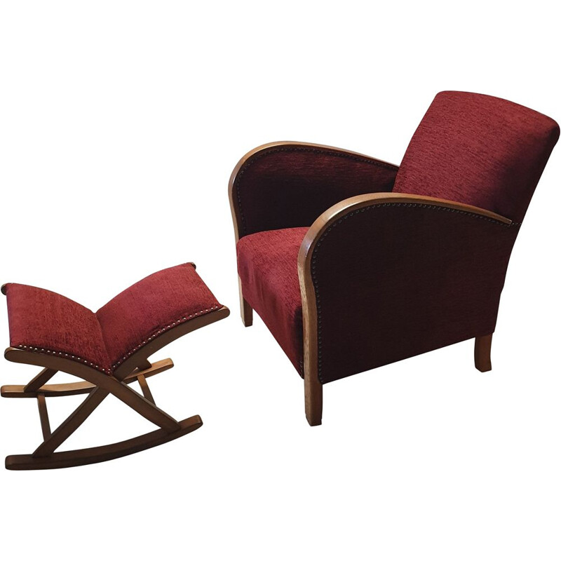 Vintage armchair with ottoman in oak and red fabric
