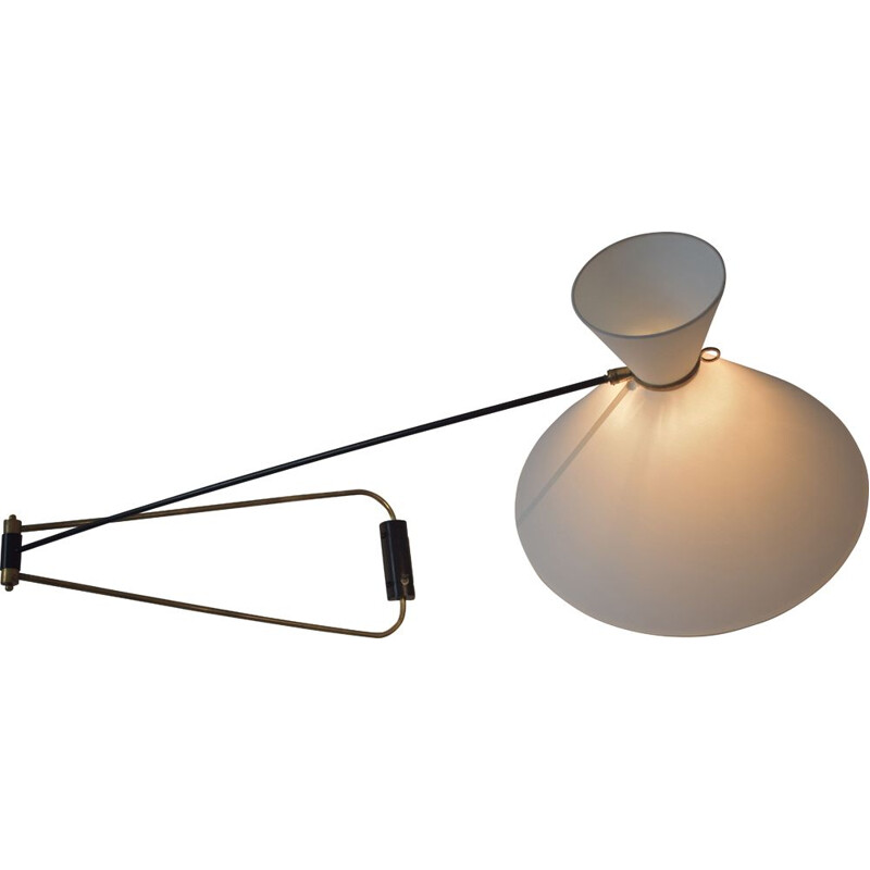 Vintage double wall lamp in brass by Robert Mathieu