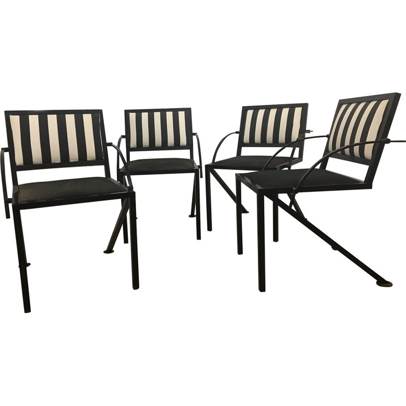 Set of 4 vintage Compass chairs by Jean-Michel Wilmotte