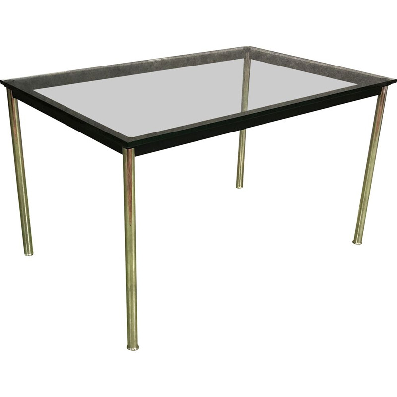 Vintage aluminium table with glass top