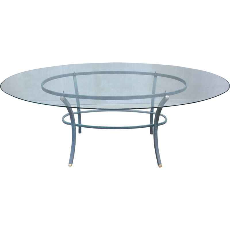 Vintage oval dining table by Pierre Vandel