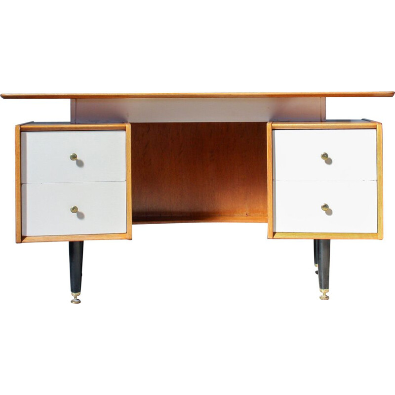 Boomerang desk in brass and oak from G-Plan