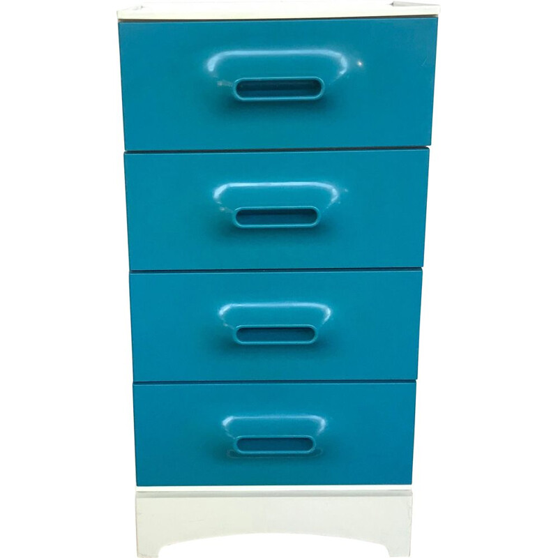 Vintage blue and white plastic chest of drawers by Marc HELD Prisunic, 1970s