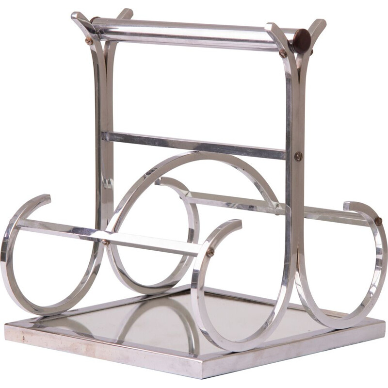 Jacques Adnet Wine Carrier Chrome with Mirror Base