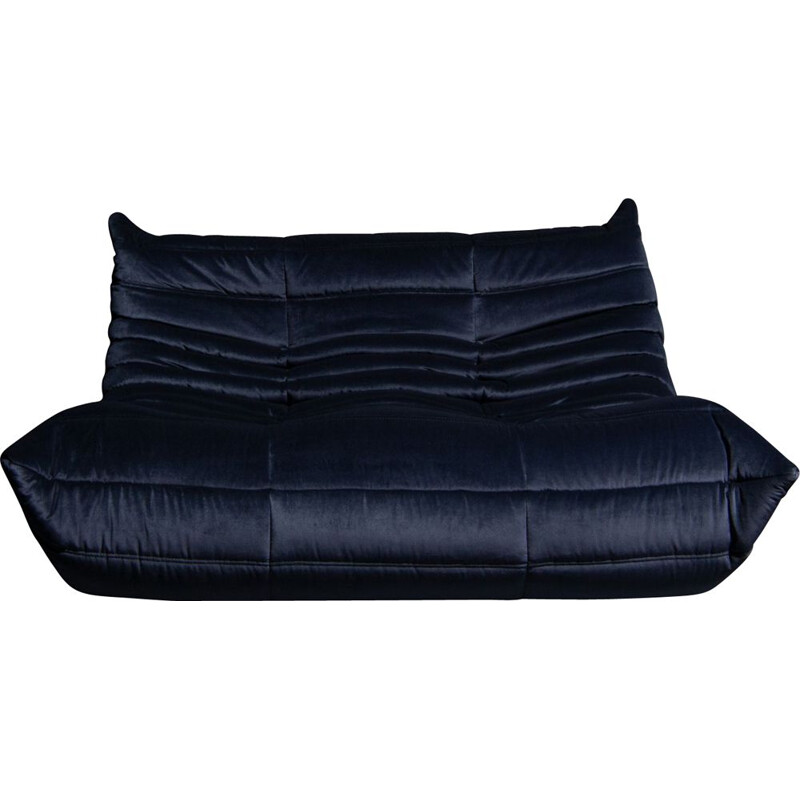 "Vintage blue ""Togo"" sofa by Michel Ducaroy for Ligne Roset"