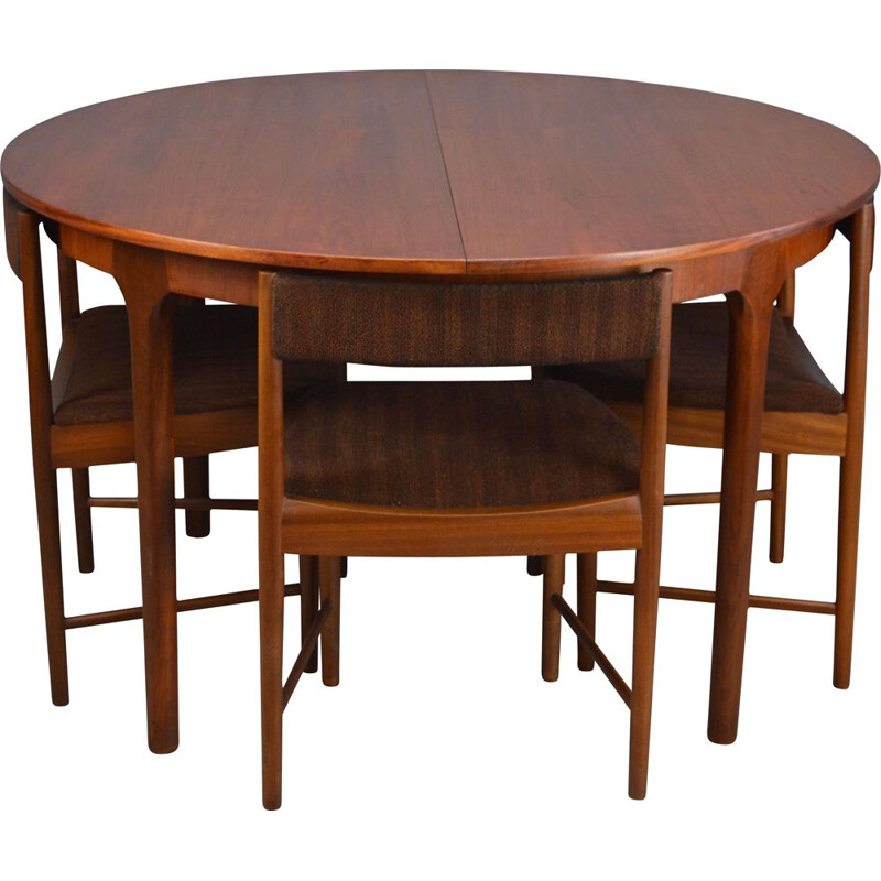 Vintage dining set with round teak dinning table and 4 chairs